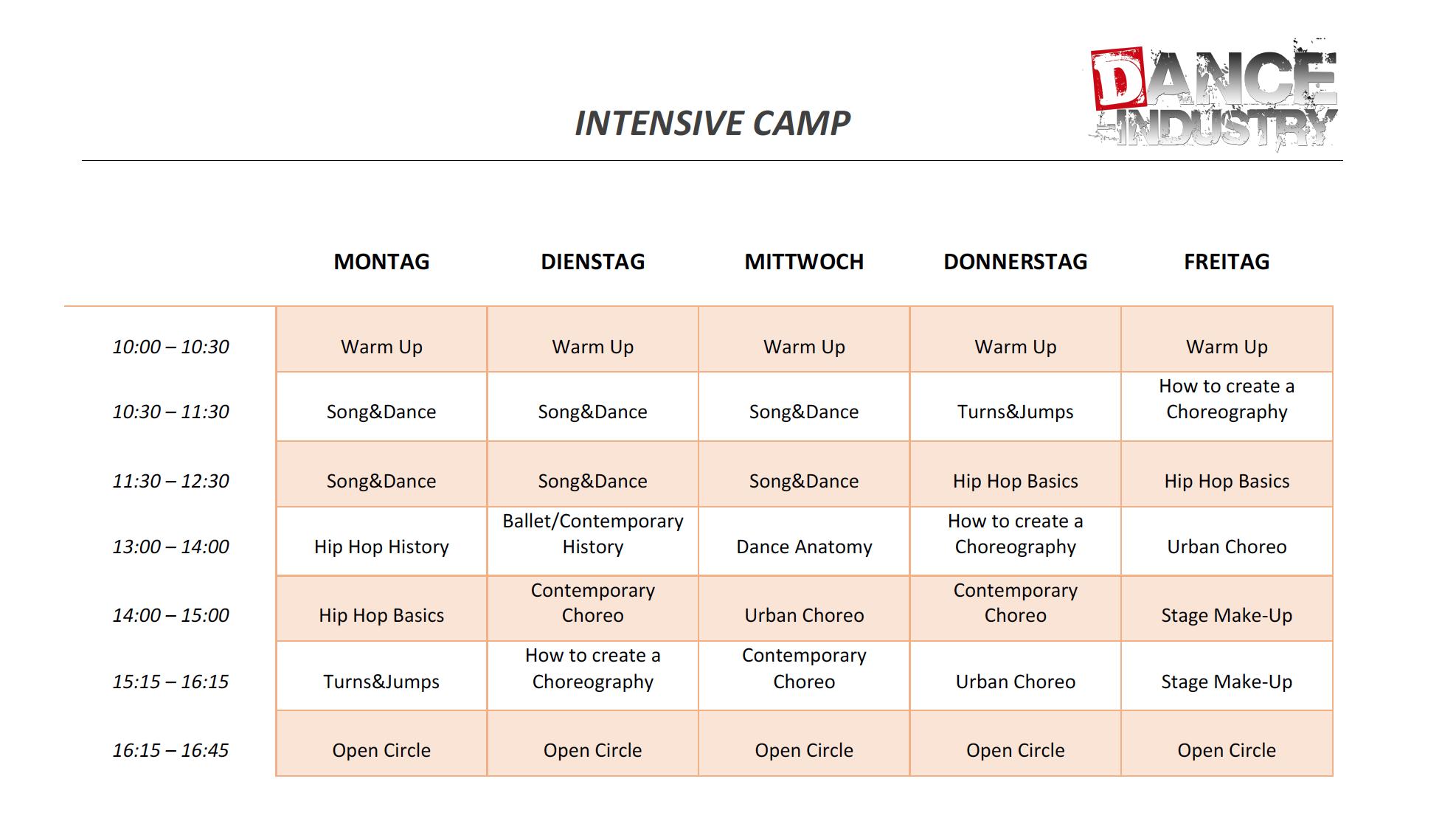 Stundenplan Intensive Camp